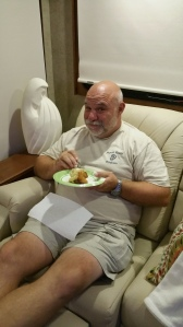 Bill chowing down on a homemade cinammon roll